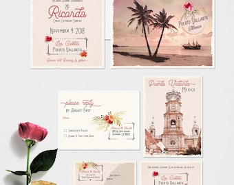 Mexico Puerto Vallarta Destination wedding invitation Traditional Mexican illustrated floral blush pink -  Deposit Payment