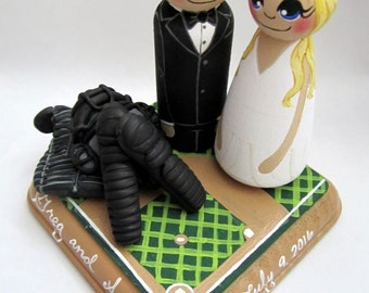 Wedding Cake Topper /Baseball Player / Couple / Custom Painted Wood Peg Dolls with Custom Painted Field Plaque and Gear