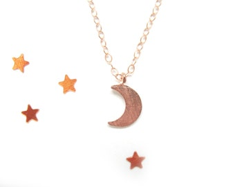 Rose Gold Moon Necklace / Tiny Moon Necklace / Crescent Necklace / Rose Gold Necklace / Half Moon Necklace / Crescent