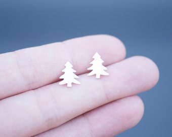 Little Pine Tree Stud Earrings Handmade from Sterling Silver