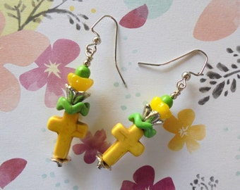 Yellow and Green Flower and Cross Earrings (4387)