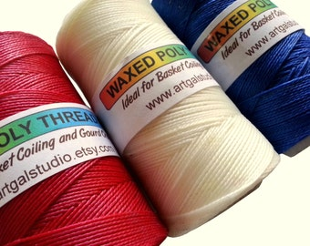 Waxed Poly Thread -4 oz Spools, RED WHITE BLUE, Pine Needle Baskets, Gourd Art, Leather work, Jewelry  Beading  - Discount on Lot!