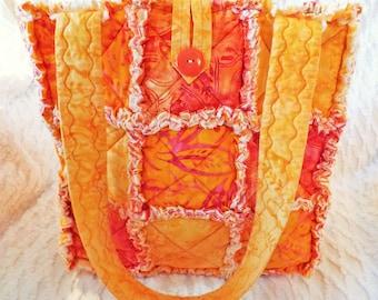 Orange Batik Rag Tote - Rag Quilt Tote - Batik Tote - Orange and Yellow Tote - Orange Rag Tote - Gift for Her