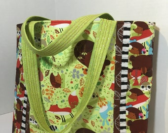 Forest Critters Tote Bag Green and Brown Woodland Creatures with interior pockets