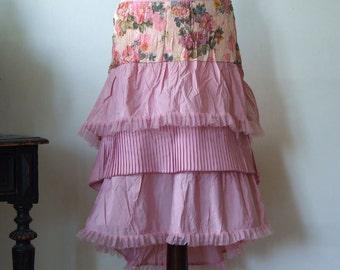 Powder pink taffeta skirt, taffeta boho skirt with ruffles and tulle ruffles, glamorous high low skirt, romantic taffeta and flowers skirt