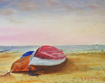Beach Boats, Original Painting.