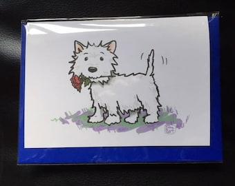 West Highland Terrier Rose card.