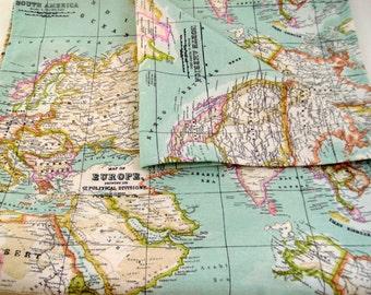 map fabric runner, 6ft table runner, world map table runner, map table runner, world table runner, blue table runner, map table cloth