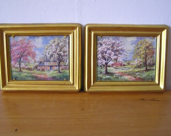 Two Small Gold Framed Nature Scene Pictures
