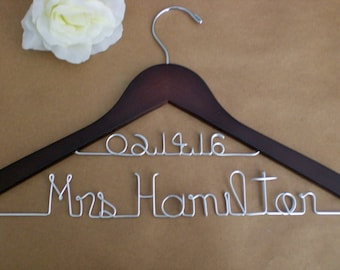 Sale of the Month Only10.00 /Personalized Hanger/Personalized Wedding Hangers/ Custom Wedding Hanger/Weddings/Bride, Name and Date Hangers