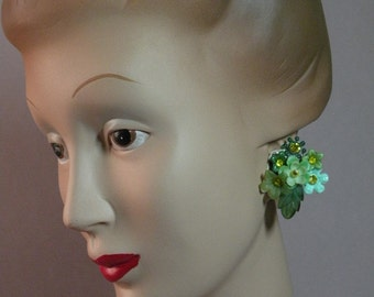 Shades of Green Bouquet Earrings