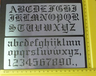 Metal stencil Oblong Upper Lower Case Alphabet Numbers Old English Emboss MEDIUM