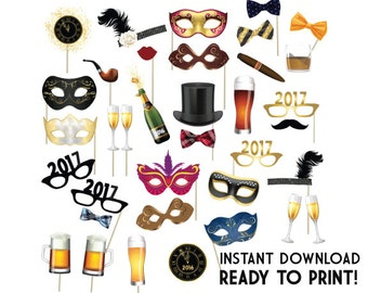 2017 New Years Eve Photo Booth Props–PRINTABLE New Years Props-PRINTABLE New Years Sign-New Years Props-New Years Eve Props-Instant Download