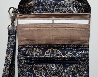 Blue and Brown Paisley Trifold Wallet Clutch