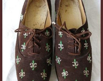 Vintage Jerry Edouard Suede Fleur de Lis Platform Shoes