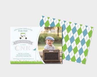 HALF OFF Golf Birthday Party Invitation, Golf Invite, Golf Party, First Birthday, 1st - 2nd - 3rd - 4th Birthday, Boy's Golf Party, Design #