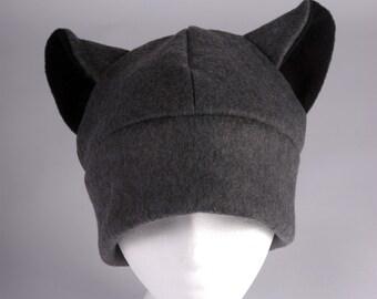 Kitty Cat Hat - Gray / Black Fleece Animal Ear Hat by Ningen Headwear