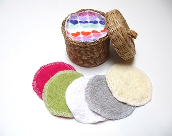 Reusable Facial Rounds, Terry Flannel Cosmetic Rounds, Makeup Remover Pads, Terry And Flannel Facial Pads, Set of 30 or 40, Add On WASH BAG