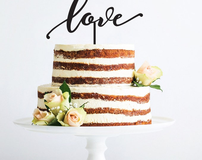 Wedding Cake Topper- Love Cake Topper- Modern Script