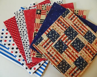Patriotic Napkins, Mixed Set of 8. Red, White & Blue. 4th of July, Flag Day, Picnic, Celebrate America Every Day Napkins Gift Set.