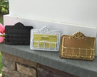 Business Card Holder, Shabby Chic Card Holder, Gold Business Card Holder, Home and Garden Decor