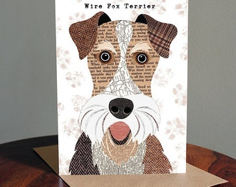 Wire Fox terrier dog greetings card
