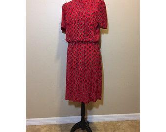 Vintage 1970s Red Dress   Vinatge Red Dress   70s Red Dress