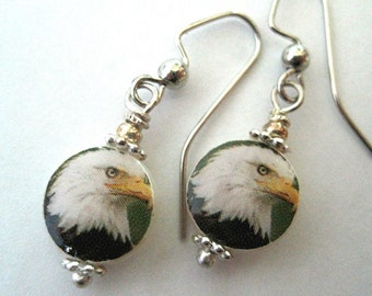 American Bald Eagle. Petite Mother of Pearl Shell Earrings. Handmade.