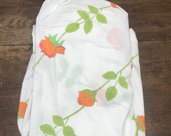Vintage Sheets Linens Double/Full Fitted Coral Pink Rose Wamsutta Ultracale