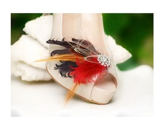 Warm Shoe Clips Brown Burnt Red & Rhinestone. Spring Engagement. Bride Bridal Bridesmaid Couture Big Day Rockabilly. Edgy Bold Chic Wedding