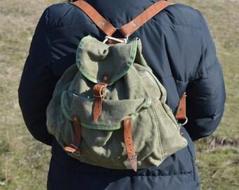 Vintage backpack - Canvas backpack - Hiking backpack - Nice rucksack - Hippie backpack - Small backpack - Travel backpack - Hipster backpack