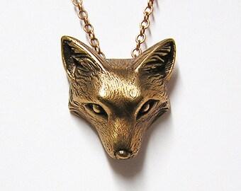 "Fox Necklace Pendant Fox Charm Woodland Fox on 20"" inch Metal Chain (bronze)"