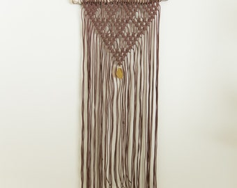 Brown Macrame Wall Hanging with Stone