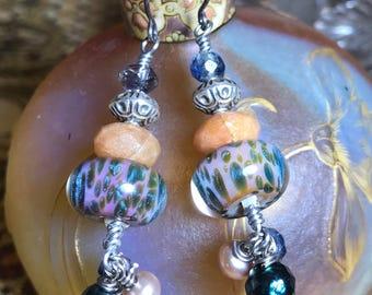 Artisan Borosilicate Glass Lampwork, Freshwater Pearl, Kyanite, and Carnelian on Sterling Hooks Artisan Jewelry Ooak TREE TOPS