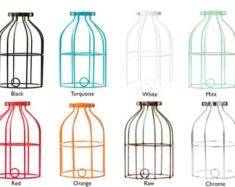 Custom Industrial Cage Lamp. Choice of Cage and Cord Color. Black or White Porcelain Socket, Plug-In Lamp with In-Line Thumb Switch.
