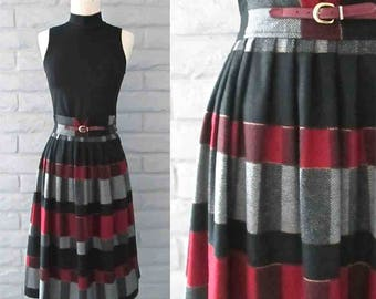 Vintage 1960's pleated wool skirt RED PLAID buckle trim high waist - XS