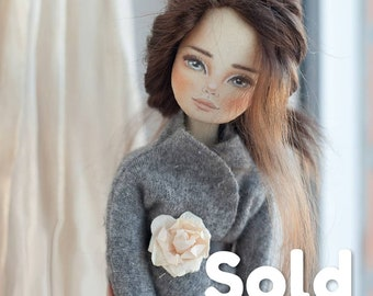Ooak doll, handmade doll, brunette doll, exclusive doll, barbie doll, textile doll, collecting doll, cotton doll, rag doll, collectable doll