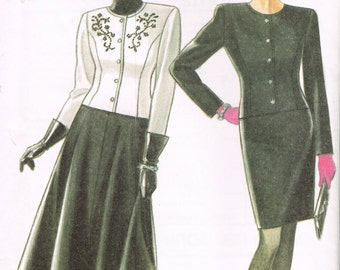 Size 8-18 Misses' Jacket & Skirt Sewing Pattern - Misses Suit - Straight Skirt - Round Neck Jacket - Flared Skirt - New Look 6011