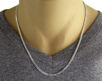 "Men's 925 Sterling Silver Cuban Curb Link Chain Necklace - 080 Gauge 3 mm - 20""/22""/24""/30"""