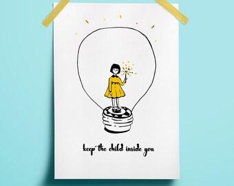 Nursery collectibles Yellow art decor Child poster decor Yellow art printable Line art poster Print yellow black Art christmas light Festive