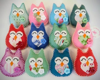 Handmade Felt Owl Brooch Mother's Day or Teacher Gift Present Thank you