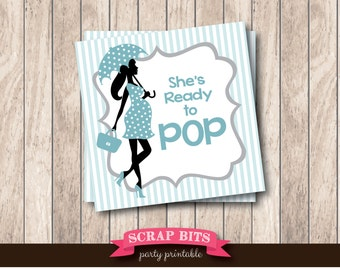 Instant Download . Printable Ready To Pop Tags with Umbrella Lady, Printable Baby Shower Favor Tags