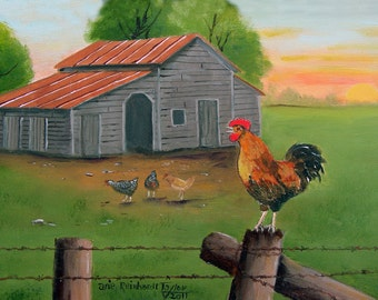 Red Rooster, Folk Art Painting, Barb Wire Post, Hens Chickens, Barn, Country Scene, Folk Art Landscape Print, Sunrise, Arie Reinhardt Taylor