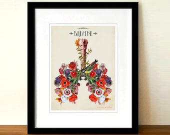 "Anatomical Lungs and Flowers -Breathe 8.5"" x 11"",Human Anatomy Medical print, Pulmonologist Gift,Nurse Graduation gift,Colorful Floral Lungs"