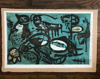 Mid century abstract art linoleum block print