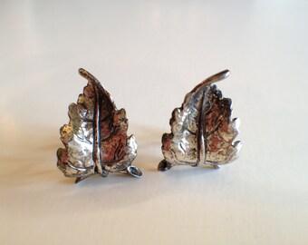 Vintage DANECRAFT Sterling leaf earrings
