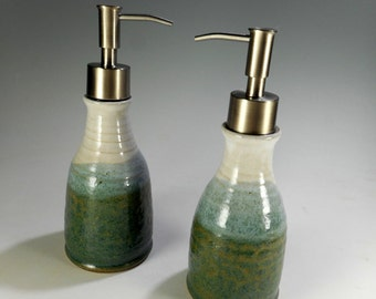 Pottery soap and lotion dispenser set, ceramic lotion pump, stoneware dish soap pump, stainless pumper, ceramic hand soap dispenser