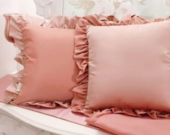Antique rose for the set of 2 pillows with a valuable taffetá Italian