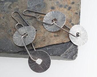 Two Disk Earrings, Sterling Silver Earrings, Drop Earrings, Handmade Earrings, Artisan Earrings, Dainty Jewelry,Minimalist jewelry