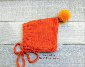 Knit Burnt Orange Pumpkin Pixie Bonnet Pom Pom Hat For Fall and Winter Chunky available, baby shower gift, Bonnet Kids apparel, newborn hats